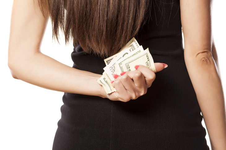 Woman hides money