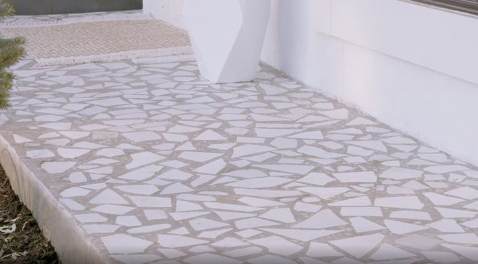 This homemade terrazzo makes for a great walkway.