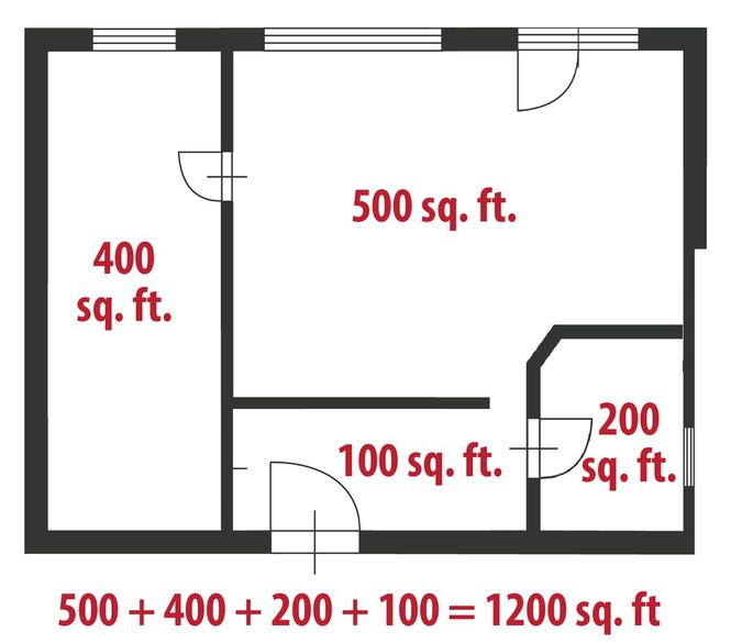 Even complicated floor plans are just a series of rectangles you can add up.